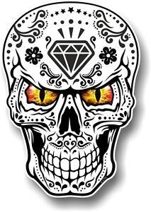 Realistic Mexican Sugar Skull Black White Evil Eyes Car Bike Sticker Decal Ebay