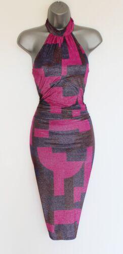 Karen Race Geometric Millen Halterneck Dress Cocktail 40 Uk12 Party Print Jersey rHr57xq0
