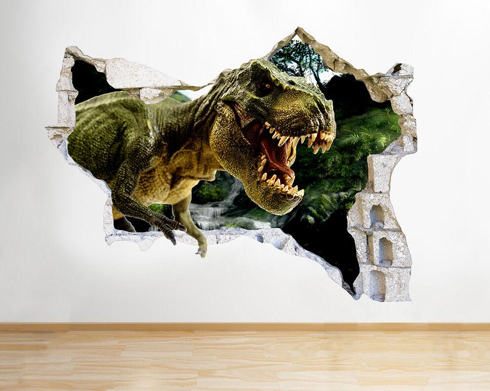 Q586 Dinosaur Cool Kids Chambre Smashed mu Autocollant Chambre 3D Vinyle enfants