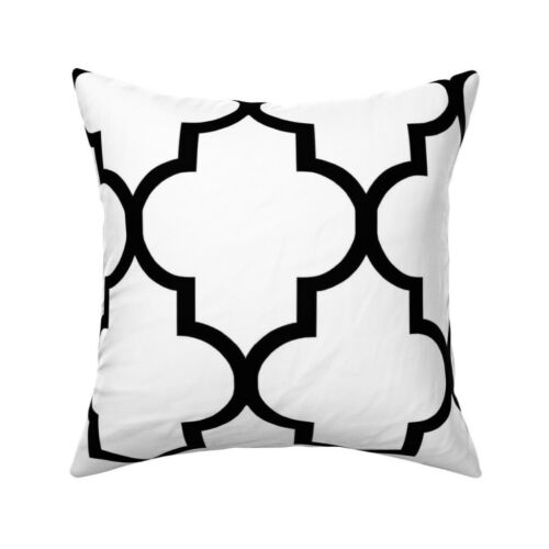 Ogee Geomentric Black Classical Throw Pillow Cover w Optional Insert by Roostery