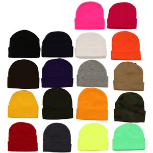 8899a04e9d54b3 Beanie Plain Knit Ski Hat Skull Cap Cuff Warm Winter Blank Colors ...