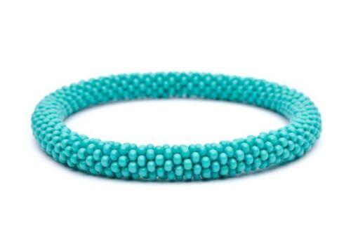 Sashka-Solid-TURQUOISE-C2-Glass-Beaded-Roll-BRACELET-Nepal-Fair-Trade-Reg-6-8-034