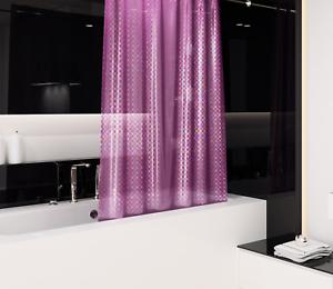 New Transparent 3D PEVA Purple Bath Shower Curtain Extra Long Various Sizes