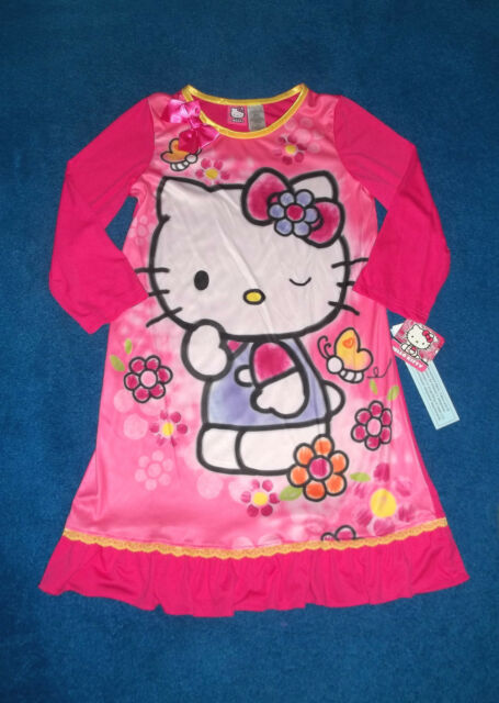 GIRLS PINK HELLO KITTY CAT NIGHT GOWN PAJAMAS SIZE 10 - 12 LARGE NWT GIFT IDEA !