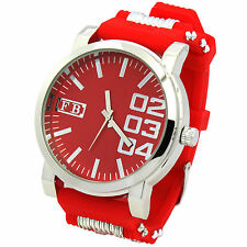 Mens Red Silicon Band Fashion Quartz Hip Hop Bling bling Sport Wrist Watches