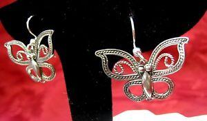 Argent Sterling 925 Bj paire de Papillon Boucles D'oreilles-afficher le titre d`origine RCaUbCru-09162509-691183621