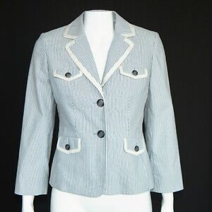 NEW ANN TAYLOR Blue White Striped Jacket Blazer Womens size 2 NWT $99.99 - 885