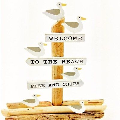 Quirky Ornament with Painted Seagulls and Welcome to the Beach - Fish and Chips