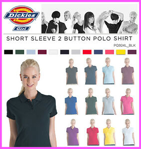 Dickies-Junior-Girls-Plain-Short-Sleeve-Polo-Shirt-PQ924L-Golf-LPGA-Top-Uniform
