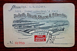 1899 Duluth South Shore & Atlantic Railroad Co. Accounting Dept. Employee Pass