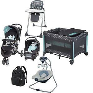 Baby Boy Combo Stroller With Car Seat Playard Swing Chair Bag