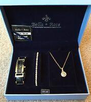 Bella & Rose Womens Watch Pendant Necklace Bracelet Set $85 Retail