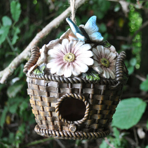 Floral panier maison d/'oiseau décoration de jardin nichoir ornement sculpture 39256