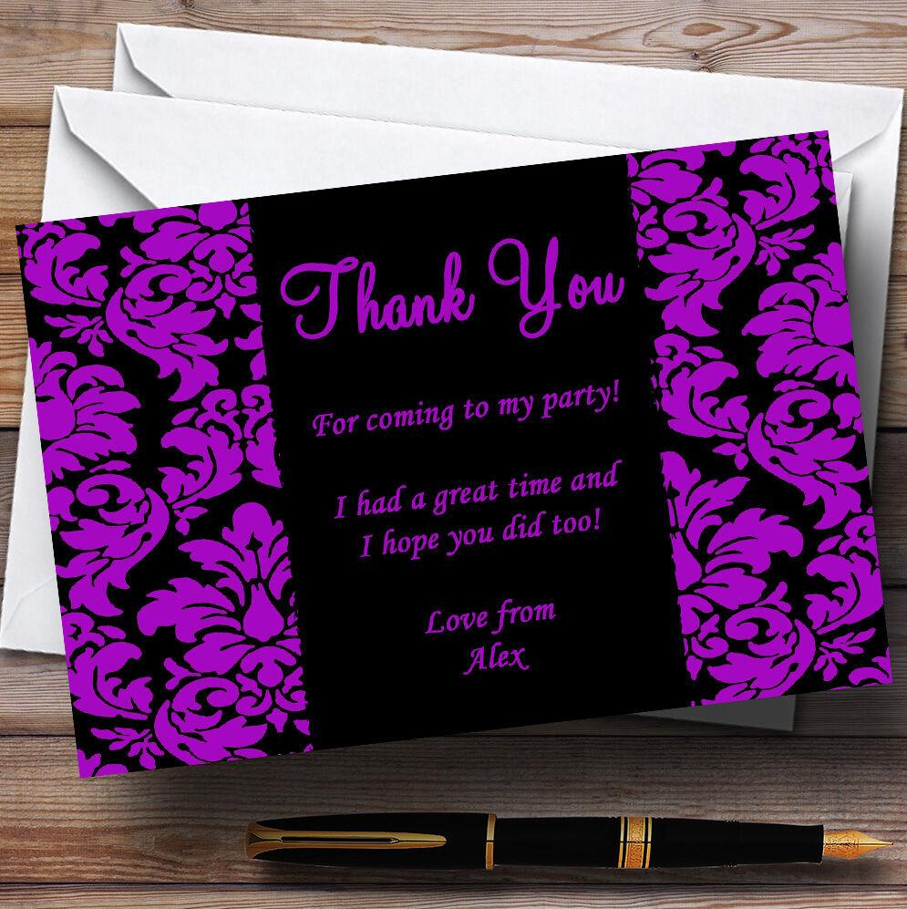 Floral noir et violet damassé personnalisé partie cartes remercieHommes t t remercieHommes da6e69