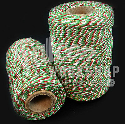 CHRISTMAS RED AND WHITE 5mm CHUNKY BAKERS TWINE GIFT WRAP DECORATION EVERLASTO