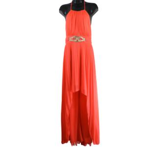 Cache-Neon-Orange-Red-Long-Padded-Halter-Tie-Formal-Dress-Women-039-s-Size-4