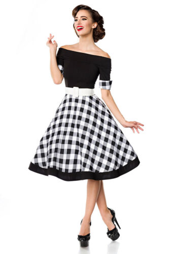 Rockabilly schulterfreies Swing-Kleid Dots 50er Jahre Retro Vintage Off Shoulder