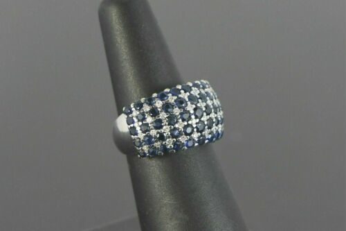 Details about  /14K White Gold Over Pave Blue Sapphire Diamond Wide Cocktail Ring 5.50Ct