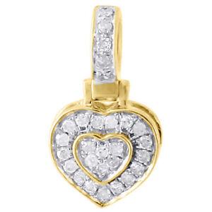 10K-Yellow-Gold-Ladies-Diamond-Pendant-Double-Raised-Heart-0-25-CT