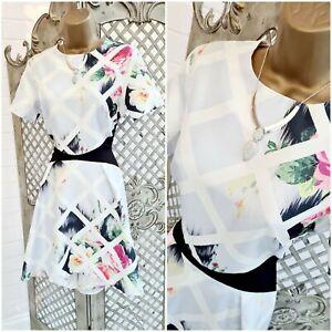 True Violet 💋 UK 12 New Lattice & Floral Print Fit & Flare Dress ~Free Postage~
