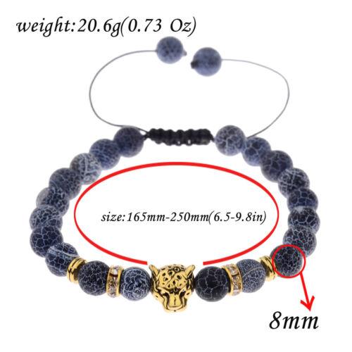Fashion Men Gold Léopard Perles Weathering Agate Gem Joint bracelets bijoux
