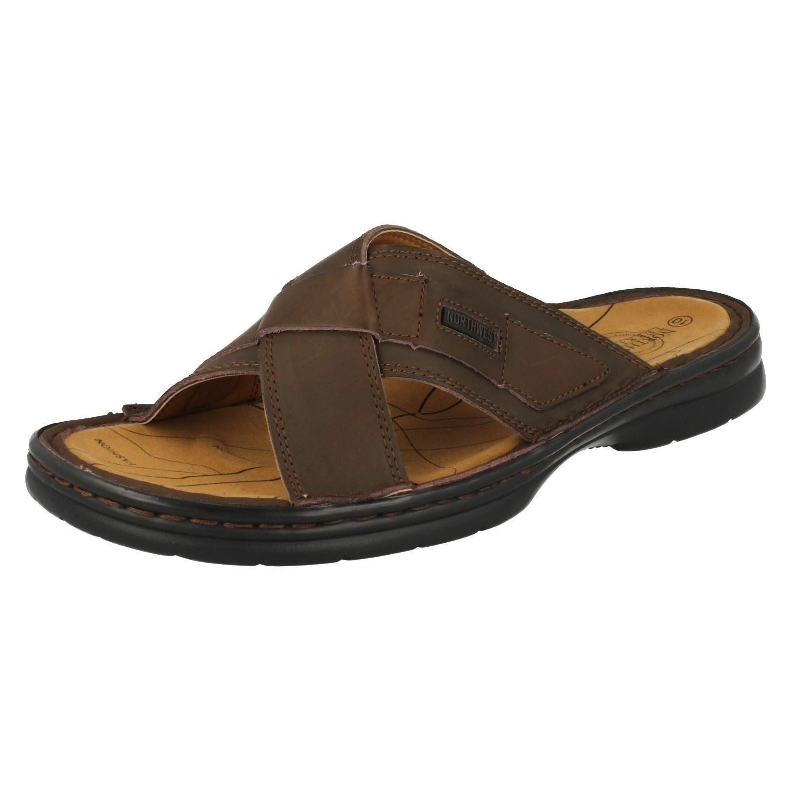 Northwest Territory 'SAHARA' Mens Brown Leather Slip On Summer Sandals