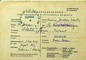 FRANCE 1940's WWII PRISONERS OF WAR COLMAR CENSORED COVER REDIRECTED TO GERMANY