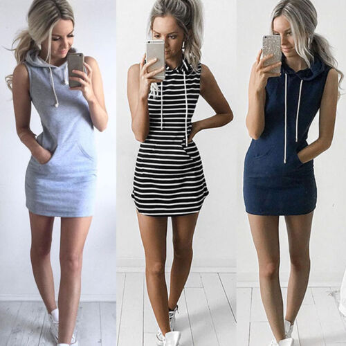 Fashion Frauen Drawstring Kapuze Dress Pocket Casual Sport Mini Dra ZF