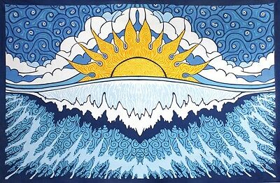 Sun Wave Surf Beach Sheet Tapestry Wall Hanging Table Cloth with Corner Loops