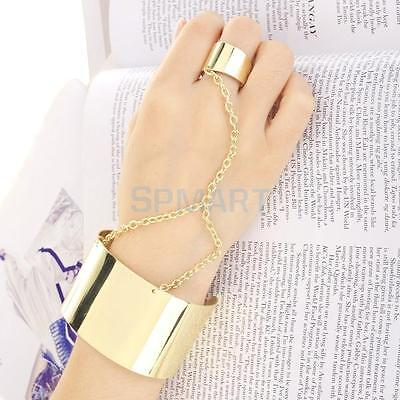 Celebrity's Gold Flat Metal Link Chain Slave Harness Bracelet Finger Ring Bangle