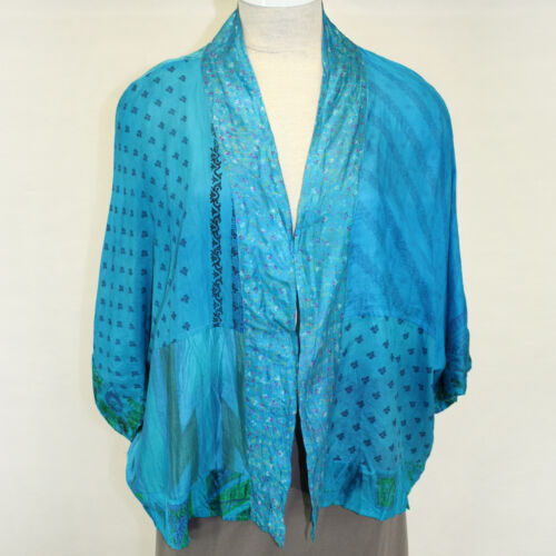 NEW NWT GreenSewn Limited Edition Silk Rumpled Kimono Turquoise Blouse Large