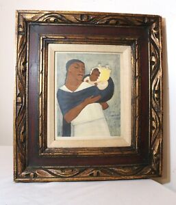 rare-antique-original-hand-signed-Jean-Charlot-Lithograph-black-mother-and-child