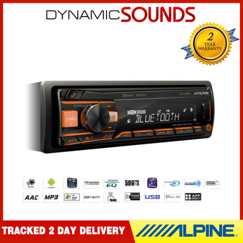 Alpine UTE-200BT Bluetooth Car Stereo Digital Media Receiver Front USB Aux In
