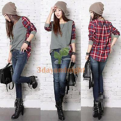 5 Sizes Fashion Women Plaid Checked Long Sleeve Casual Loose T shirt Tops Blouse