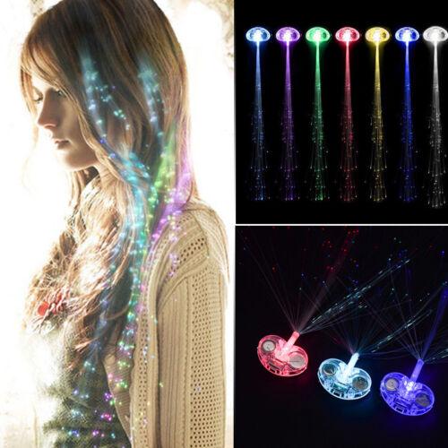 LED Fiber Optic Hairpin Light-Up Braid Luminous Hair Flashing Rave Party