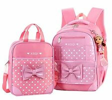School primary bag backpack Girls Students and Lunch Bag 2 Sets (Pink) Polyester