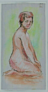 Signed - Kneeling Female Nude