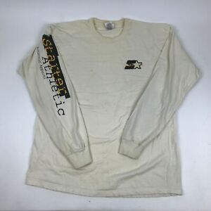 Vtg-90s-STARTER-Athletic-Long-Sleeve-Graphic-T-Shirt-Spell-Out-Sleeves-XL-Stains
