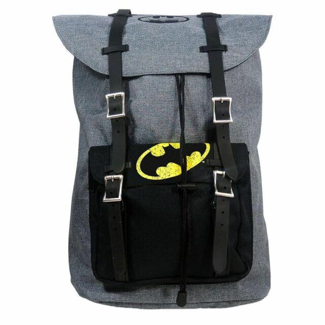Dc batman Logo Retro Cartera Mochila Bolsa Ordenador Portátil - Negro y Gris
