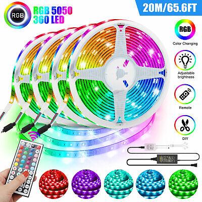 66FT RGB Color Changing Led Strip Light Flexible Room Lights 5050SMD Tape Remote 1