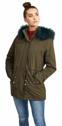 Coat Contrast Parka Jacket Teal Winter Khaki 8 Womens Fur New 16 Hood z6x504qB6n