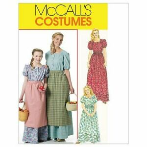 McCalls-Sewing-Patterns-6140-Girls-Child-Colonial-Costumes-Size-7-14