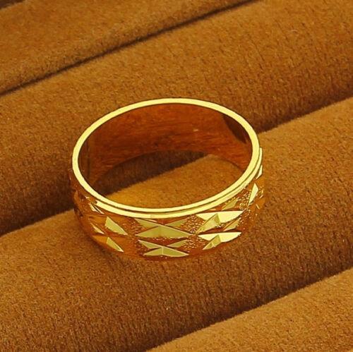 9 10 11 24K Or Jaune Plaqué Bijoux Cool Large Lip Grain Hommes Anneau #8 BR014