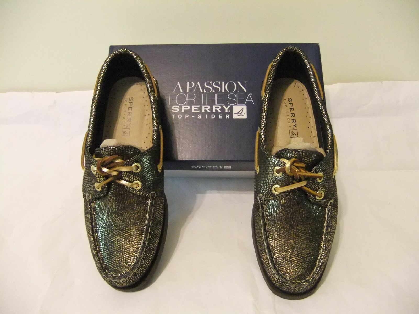 SPERRY TOP SIDER A O O O Black gold Metallic Leather Boat shoes Sz 8.5 EU 39.5 NIB 95 11a87a