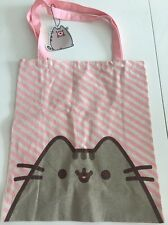 Pink Candy Stripe PUSHEEN cat Book Eco Canvas Shopper Bag Tote School Reusable