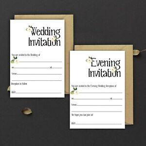 WEDDING-INVITATIONS-BLANK-BLACK-amp-IVORY-ROSE-DAY-amp-EVE-PACKS-OF-10