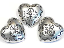 3 - 2 HOLE SLIDER BEADS LINKS CONNECTOR HEART & CROSS WESTERN CONCHO STYLE BEAD