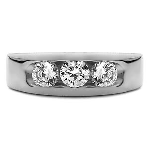 0.35 Ct Natural Diamond Engagement Ring 14K Solid White Gold Mens Band