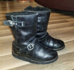 cb9f44daa79 Details about UGG Womens Noria 1001733 Leather Waterproof Sheepskin Black  Boot Size 5 USA