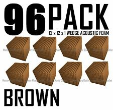 96 Pc BROWN Acoustic Wedge recording Studio Soundproofing Foam Wall Tile 12x12x1